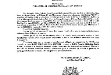 Vanzare teren si casa in Baia Mare – Extras publicatie imobiliara, din data de 22. 10. 2015