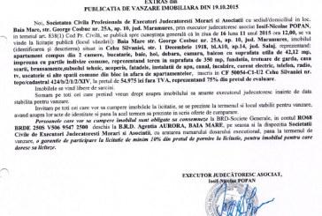 Vanzare apartament si teren in Cehu Silvaniei – Extras publicatie imobiliara, din data de 22. 10. 2015