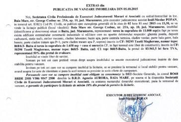 Vanzare teren si casa in Baita – Extras publicatie imobiliara, din data de 07. 10. 2015