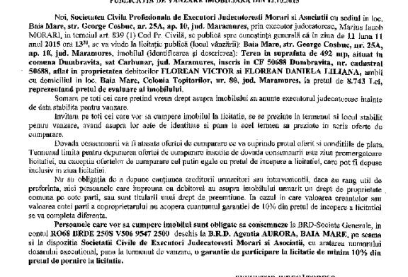 Vanzare teren in Dumbravita – Extras publicatie imobiliara, din data de 22. 10. 2015