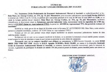 Vanzare teren in Zalau – Extras publicatie imobiliara, din data de 22. 10. 2015