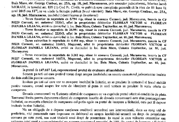 Vanzare terenuri in Cernesti – Extras publicatie imobiliara, din data de 22. 10. 2015