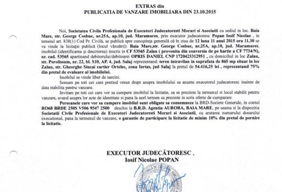 Vanzare teren in Zalau – Extras publicatie imobiliara, din data de 26. 10. 2015