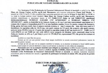Vanzare teren si apartament in Zalau – Extras publicatie imobiliara, din data de 27. 10. 2015