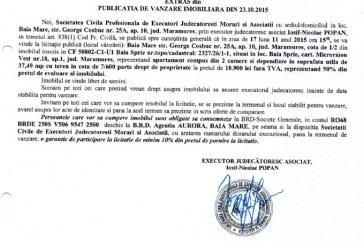 Vanzare apartament in Baia Sprie – Extras publicatie imobiliara, din data de 27. 10. 2015