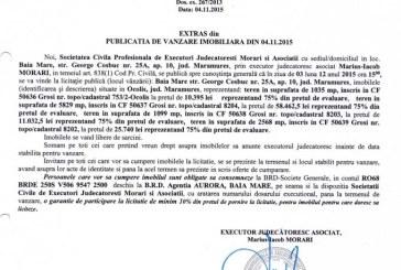 Vanzare terenuri in Grosi – Extras publicatie imobiliara, din data de 05. 11. 2015