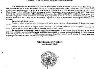 Vanzare apartament si teren in Baia Sprie – Extras publicatie imobiliara, din data de 20. 11. 2015