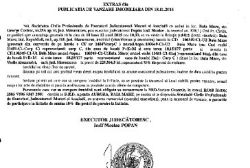 Vanzare casa si teren in Baia Mare – Extras publicatie imobiliara, din data de 20. 11. 2015