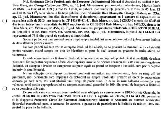 Vanzare apartament si teren in Baia Mare – Extras publicatie imobiliara, din data de 17. 11. 2015