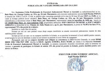 Vanzare teren in Ulmeni – Extras publicatie imobiliara, din data de 23. 11. 2015