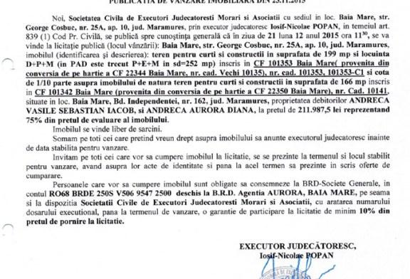 Vanzare teren in Baia Mare – Extras publicatie imobiliara, din data de 24. 11. 2015