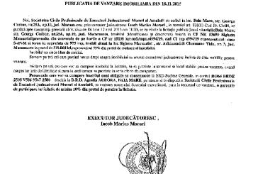 Vanzare casa si teren in Sighetu Marmatiei – Extras publicatie imobiliara, din data de 20. 11. 2015