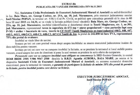 Vanzare teren si casa in Tautii Magheraus – Extras publicatie imobiliara, din data de 09. 11. 2015
