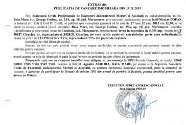 Vanzare teren si casa nefinalizata in Cicarlau – Extras publicatie imobiliara, din data de 23. 11. 2015