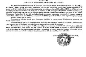 Vanzare apartament in Simleul Silvaniei – Extras publicatie imobiliara, din data de 17. 11. 2015