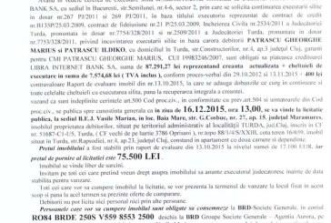 Vanzare apartament in Turda – Extras publicatie imobiliara, din data de 19. 11. 2015