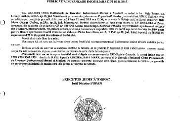 Vanzare apartament si teren in Zalau – Extras publicatie imobiliara, din data de 20. 11. 2015