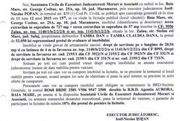 Vanzare teren in Zalau – Extras publicatie imobiliara, din data de 24. 11. 2015