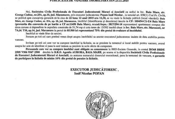Vanzare apartament in Baia Mare – Extras publicatie imobiliara, din data de 23. 11. 2015