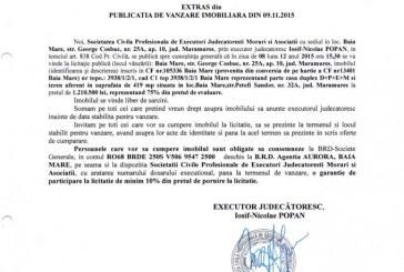Vanzare teren si casa in Baia Mare – Extras publicatie imobiliara, din data de 09. 11. 2015