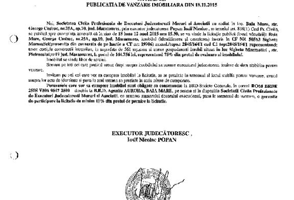 Vanzare teren si casa in Sighetu Marmatiei – Extras publicatie imobiliara, din data de 20. 11. 2015