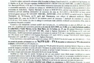 Vanzare apartament in Sighetu Marmatiei – Extras publicatie imobiliara, din data de 04. 11. 2015