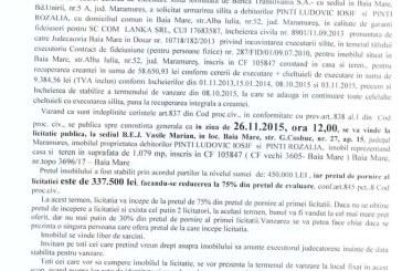 Vanzare teren si casa in Baia Mare – Extras publicatie imobiliara, din data de 04. 11. 2015