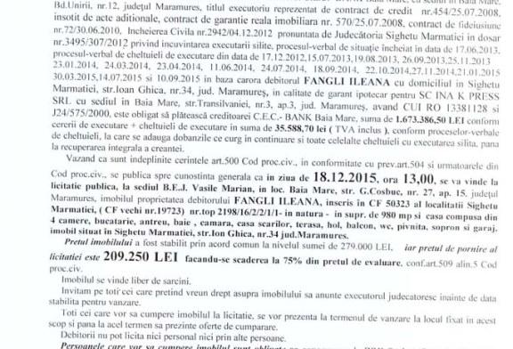 Vanzare casa in Sighetu Marmatiei – Extras publicatie imobiliara, din data de 09. 11. 2015