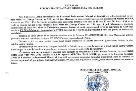 Vanzare teren in Zalau – Extras publicatie imobiliara, din data de 17. 11. 2015