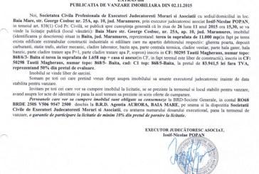 Vanzare teren si casa in Baita – Extras publicatie imobiliara, din data de 03. 11. 2015
