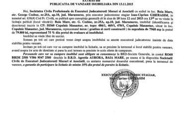 Vanzare teren in Copalnic Manastur – Extras publicatie imobiliara, din data de 17. 11. 2015