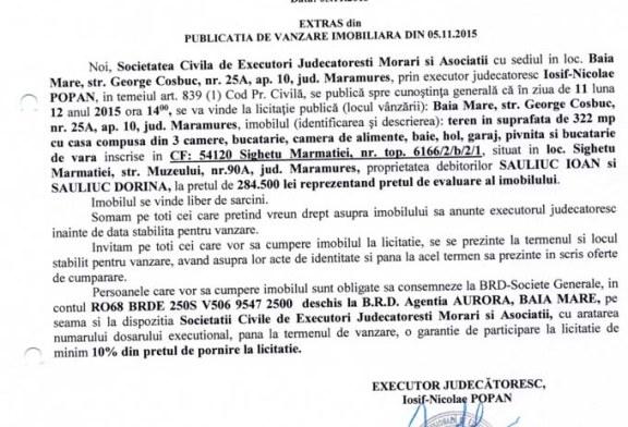 Vanzare teren si casa in Sighetu Marmatiei – Extras publicatie imobiliara, din data de 05. 11. 2015