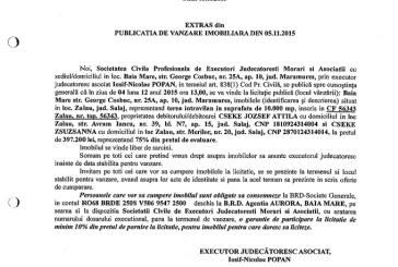 Vanzare teren in Zalau – Extras publicatie imobiliara, din data de 11. 11. 2015