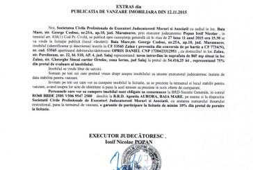 Vanzare teren in Zalau – Extras publicatie imobiliara, din data de 13. 11. 2015