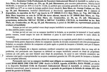 Vanzare teren in Baia Mare – Extras publicatie imobiliara, din data de 13. 11. 2015