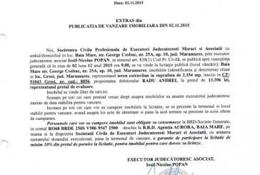 Vanzare teren in Grosi – Extras publicatie imobiliara, din data de 04. 11. 2015