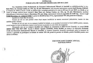 Vanzare teren in Hereclean – Extras publicatie imobiliara, din data de 11. 11. 2015