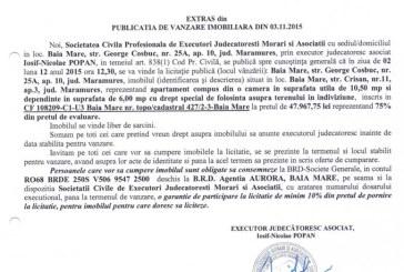 Vanzare apartament in Baia Mare – Extras publicatie imobiliara, din data de 04. 11. 2015