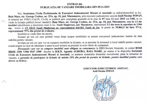 Vanzare teren in Tautii Magheraus – Extras publicatie imobiliara, din data de 09. 11. 2015