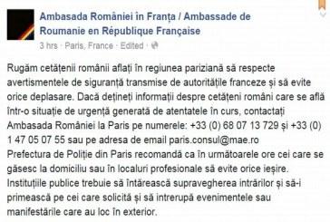 Ambasada Romaniei in Franta pune la dispozitia romanior mai multe numere de telefon