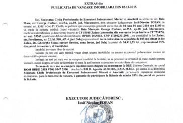 Vanzare teren in Zalau – Extras publicatie imobiliara, din data de 03. 12. 2015