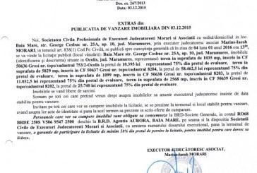 Vanzare terenuri in Grosi si Ocolis – Extras publicatie imobiliara, din data de 03. 12. 2015