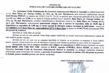 Vanzare apartament si teren in Baia Mare – Extras publicatie imobiliara, din data de 03. 12. 2015