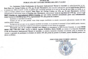 Vanzare teren si casa nefinalizata in Cicarlau – Extras publicatie vanzare imobiliara, din data de 17. 12. 2015
