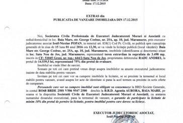 Vanzare teren extravilan in Satu Nou de Jos – Extras publicatie vanzare imobiliara, din data de 17. 12. 2015