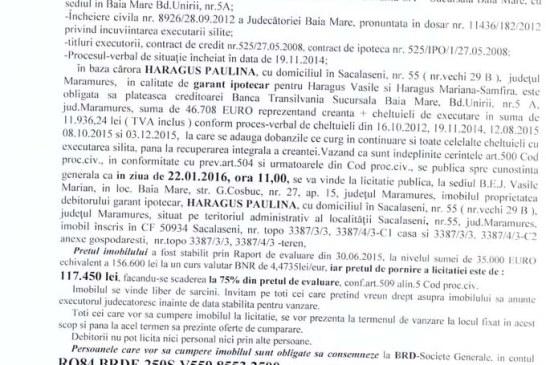 Vanzare teren si casa in Sacalaseni – Extras publicatie imobiliara, din data de 03. 12. 2015