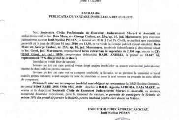 Vanzare teren extravilan in Grosi – Extras publicatie vanzare imobiliara, din data de 17. 12. 2015