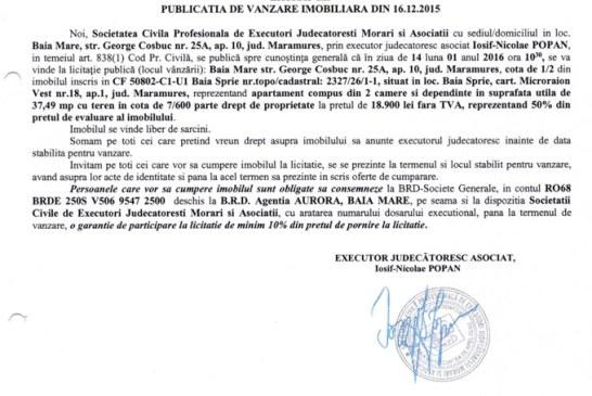 Vanzare apartament si teren in Baia Sprie – Extras publicatie vanzare imobiliara, din data de 16. 12. 2015
