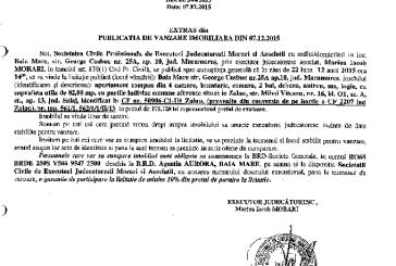 Vanzare apartament in Zalau – Extras publicatie imobiliara, din data de 07. 12. 2015