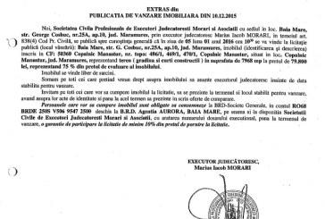 Vanzare teren in Copalnic Manastur – Extras publicatie vanzare imobiliara, din data de 10. 12. 2015